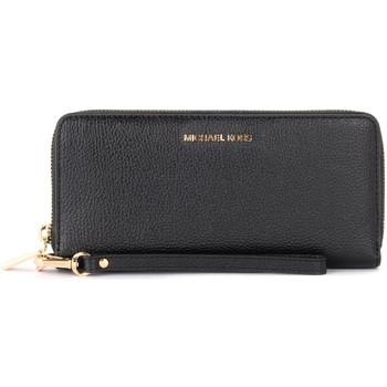 Bags Women Wallets MICHAEL Michael Kors Continental model wristlet in black grained leather Black
