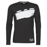 Clothing Men Long sleeved tee-shirts Emporio Armani EA7 TRAIN GRAPHIC SERIES M EAGLE TEE LS Black / White