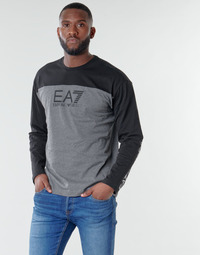 Clothing Men Long sleeved tee-shirts Emporio Armani EA7 TRAINING URBAN COLORBLOCK M TEE LS Grey / Black
