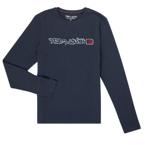 Clothing Boy Long sleeved tee-shirts Teddy Smith CLAP Marine