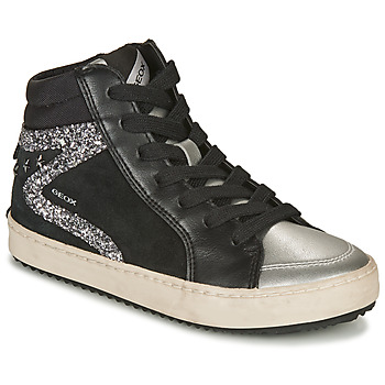 Shoes Girl Hi top trainers Geox KALISPERA Black / Silver