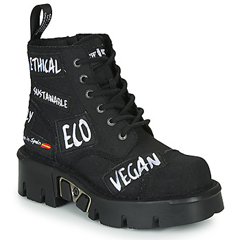 Shoes Mid boots New Rock M-MILI210PARCHE-C1 Black / White