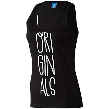 Clothing Women Tops / Sleeveless T-shirts adidas Originals Handdrawtype Tank Black