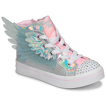 Shoes Girl Hi top trainers Skechers TWI-LITES 2.0 Silver / Pink / Led