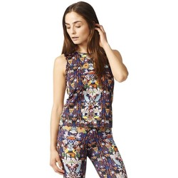 Clothing Women Tops / Blouses adidas Originals Boyfriend Tank Blue, Yellow, Brown