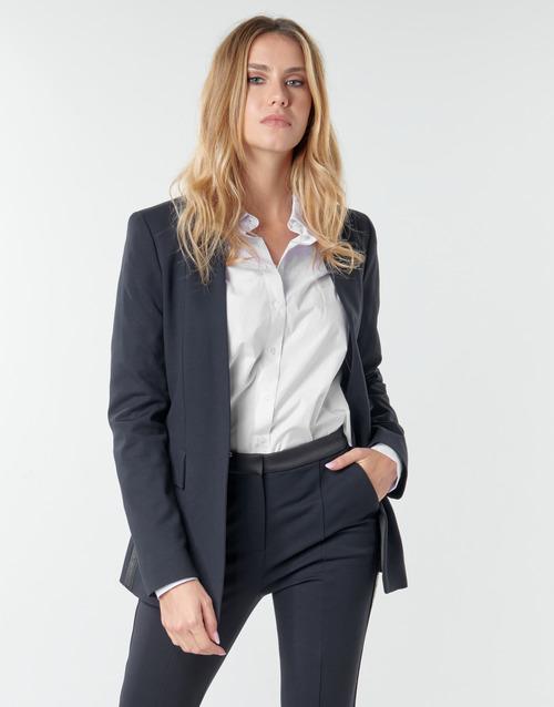 Clothing Women Jackets / Blazers Karl Lagerfeld PUNTO JACKET W/ SATIN LAPEL Marine / Black