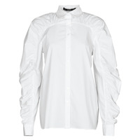 Clothing Women Shirts Karl Lagerfeld POPLIN BLOUSE W/ GATHERING White