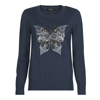 Clothing Women Jumpers Desigual BUTTERFLY Marine