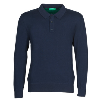 Clothing Men Long-sleeved polo shirts Benetton 1150K3076 Marine