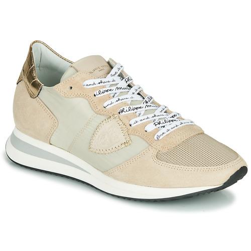 Shoes Women Low top trainers Philippe Model TROPEZ X MONDIAL CROCO Beige
