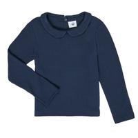 Clothing Girl Long sleeved tee-shirts Petit Bateau LOVING Marine