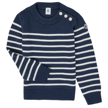 Clothing Children Jumpers Petit Bateau LOX Marine / White