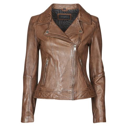 Clothing Women Leather jackets / Imitation leather Oakwood FOLLOW Cognac