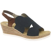 Shoes Women Sandals Rieker Ambient Womens Wedge Sandals blue