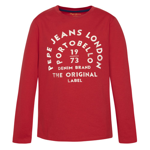 Clothing Boy Long sleeved tee-shirts Pepe jeans ANTONI Red