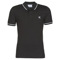 Clothing Men Short-sleeved polo shirts Calvin Klein Jeans TIPPING SLIM POLO Black