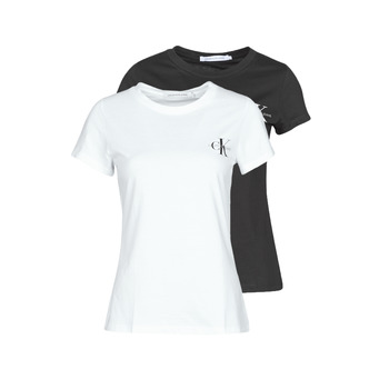 Clothing Women Short-sleeved t-shirts Calvin Klein Jeans 2 PACK SLIM T-SHIRT White