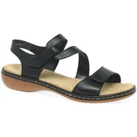 Shoes Women Sandals Rieker Sphere Womens Riptape Sandals black
