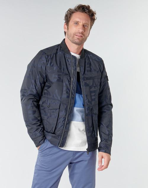 Clothing Men Jackets Scotch & Soda JACQUARD BOMBER Marine