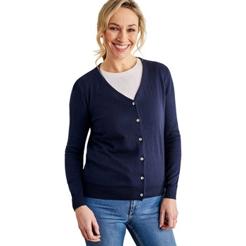 Clothing Women Jackets / Cardigans Woolovers Silk and Cotton Soft Feel V Neck Cardigan Blue