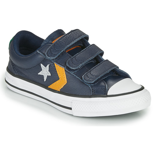 Shoes Children Low top trainers Converse STAR PLAYER 3V - LEATHER TWIST Blue / Mustard