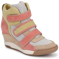 Shoes Women Hi top trainers Ash ALEX CORAL / Yellow / TAUPE
