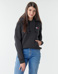 Clothing Women Sweaters Tommy Jeans TJW TOMMY BADGE HOODIE Black