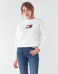 Clothing Women Sweaters Tommy Jeans TJW TOMMY FLAG CREW White
