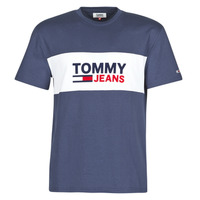 Clothing Men short-sleeved t-shirts Tommy Jeans TJM PIECED BAND LOGO TEE Marine