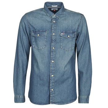 Clothing Men Long-sleeved shirts Tommy Jeans TJM WESTERN DENIM SHIRT Blue