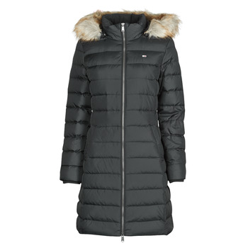 Clothing Women Duffel coats Tommy Jeans TJW ESSENTIAL HOODED DOWN COAT Black