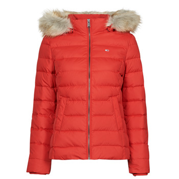 Clothing Women Duffel coats Tommy Jeans TJW BASIC HOODED DOWN JACKET Red