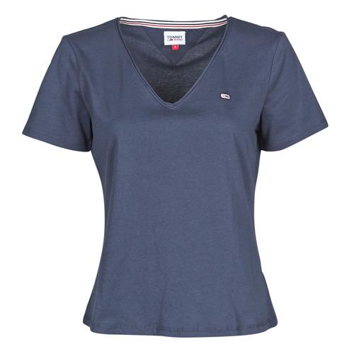 Clothing Women Short-sleeved t-shirts Tommy Jeans TJW SLIM JERSEY V NECK Marine