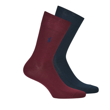 Shoe accessories Men Socks Polo Ralph Lauren ASX70 2 PACK MERCERIZED COTTON Marine / Bordeaux