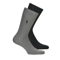 Shoe accessories Men Socks Polo Ralph Lauren ASX71 2 PACK EGYPTIAN COTTON Black / Grey