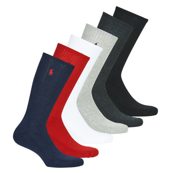 Shoe accessories Men Socks Polo Ralph Lauren ASX110 6 PACK COTTON Black / Red / Marine / Grey / Grey / White