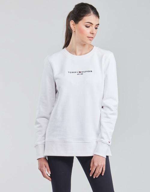 Clothing Women Sweaters Tommy Hilfiger TH ESS HILFIGER C-NK SWEATSHIRT White