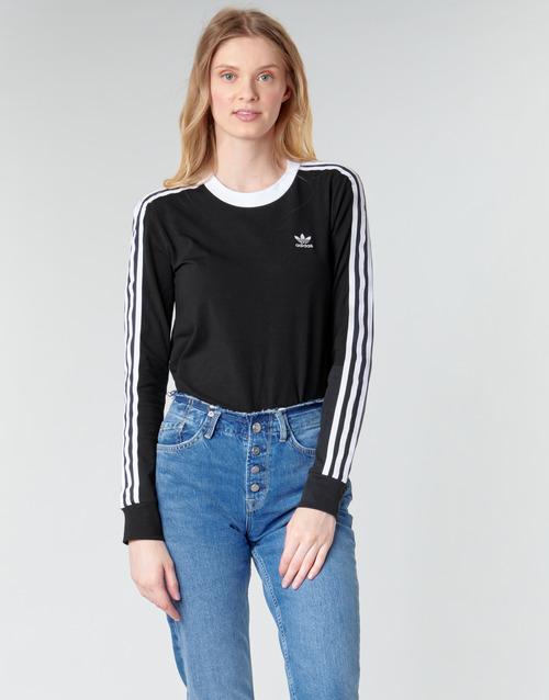 Clothing Women Long sleeved tee-shirts adidas Originals 3 STR LS Black