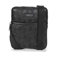 Bags Men Pouches / Clutches Guess BALDO MINI FLAT CROSSBODY Black