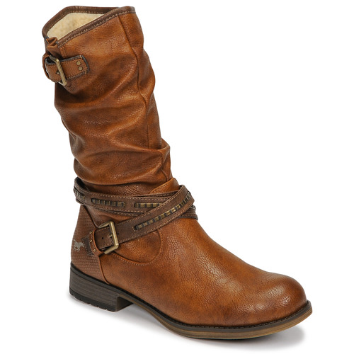 Shoes Women High boots Mustang 1139624 Cognac