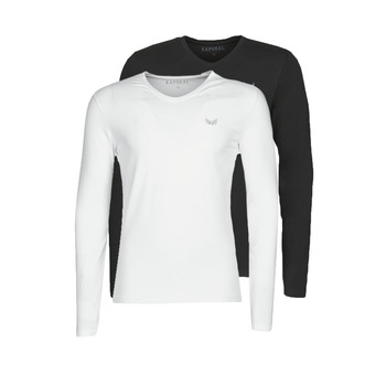 Clothing Men Long sleeved tee-shirts Kaporal VIFT Black-white