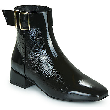 Shoes Women Mid boots Tommy Hilfiger PATENT SQUARE TOE MID HEEL BOOT  black