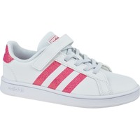 Shoes Children Low top trainers adidas Originals Grand Court K White,Pink