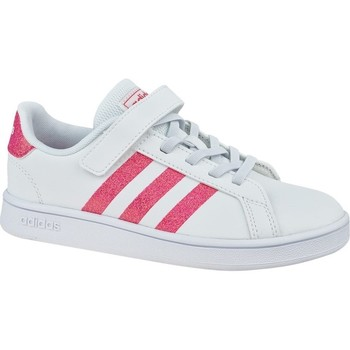 Shoes Children Low top trainers adidas Originals Grand Court K White, Pink