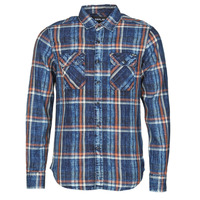 Clothing Men Long-sleeved shirts Replay M4033 Marine / Orange