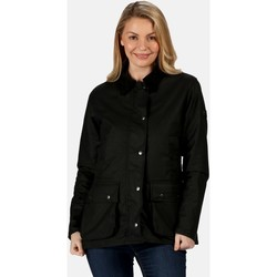 Clothing Women Coats Regatta LADY COUNTRY Wax Jacket Dark Khaki Black Black