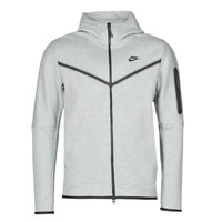 Clothing Men Track tops Nike M NSW TCH FLC HOODIE FZ WR Grey / Black