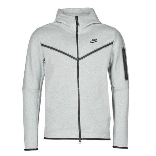 Clothing Men Track tops Nike M NSW TCH FLC HOODIE FZ WR Grey / Black