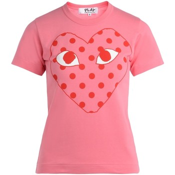 Clothing Women short-sleeved t-shirts Comme Des Garcons pink women's t-shirt with red polka Pink
