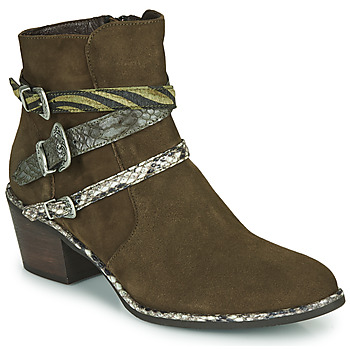 Shoes Women Ankle boots Regard NAPOLI V3 VELOURS MILITARE Kaki